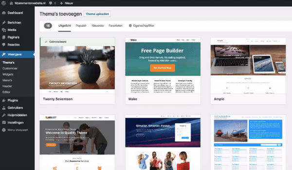wordpress thema installeren